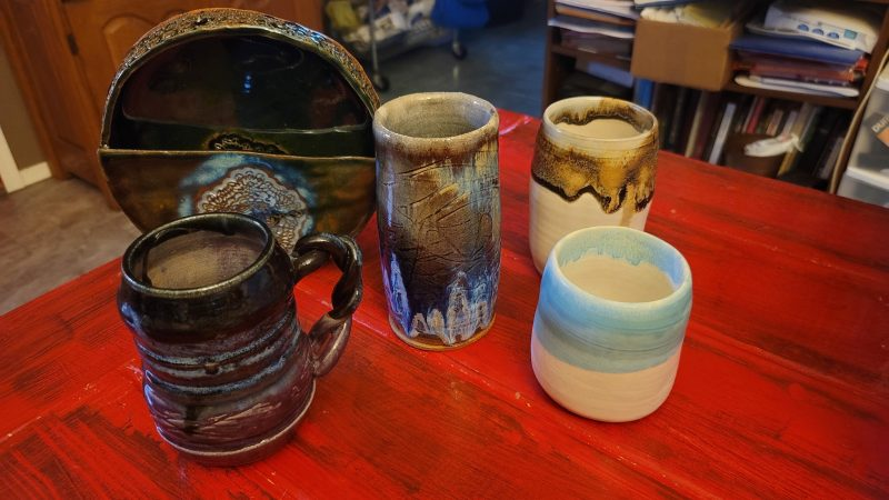 We love collecting local handmade crafts and art! Found this potter at Southside