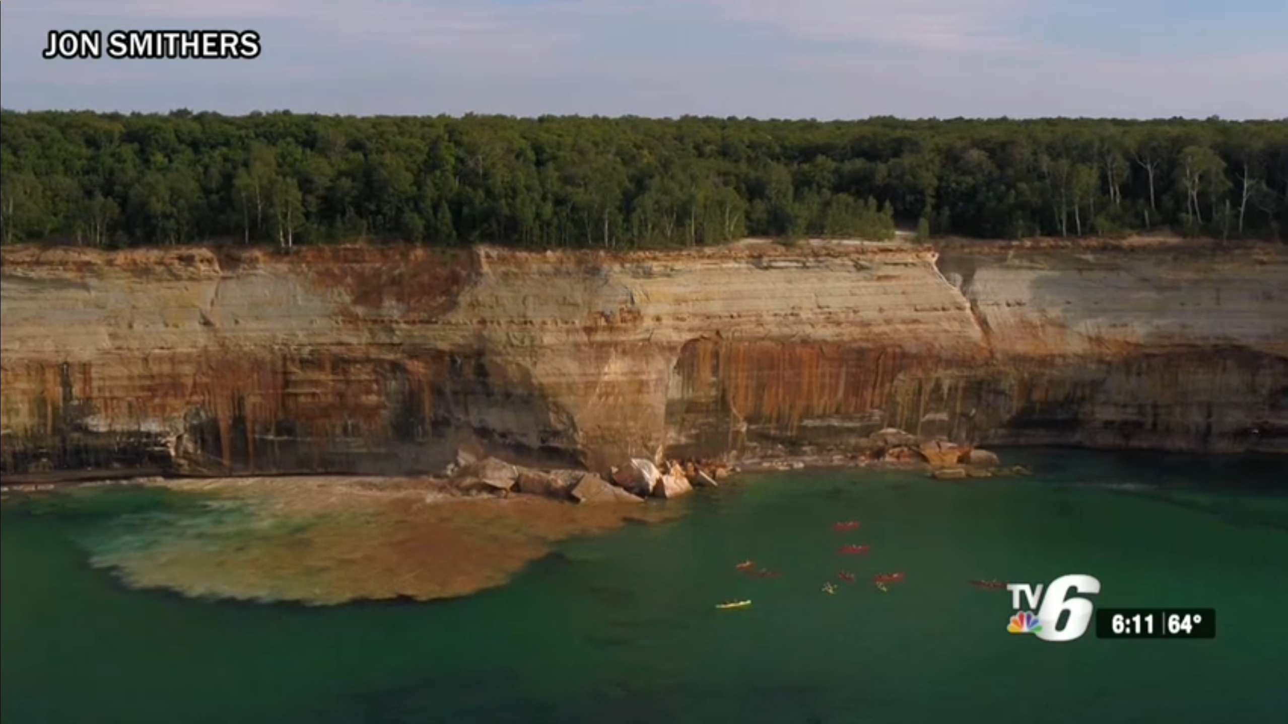 Falling Cliff Misses Kayakers